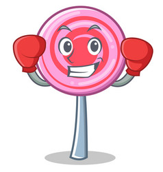 Boxing cute lollipop character cartoon vector