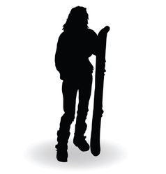 Snowboarding woman silhouette vector