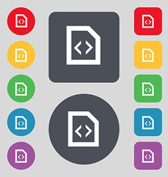 Programming code icon sign a set of 12 colored vector