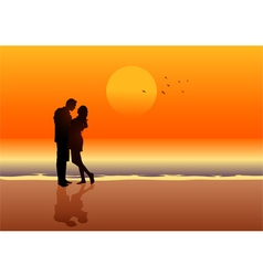 Couple at the beach vector