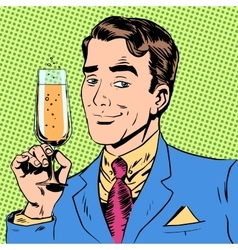 Man with a glass of champagne date holiday toast vector