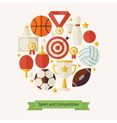 Flat style sport recreation and competition vector