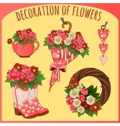 Accessories and decorative objects with flowers vector