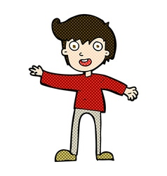 Comic cartoon excited boy vector