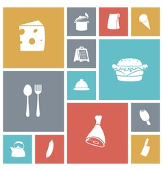 Icons tile food vector