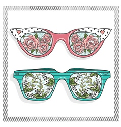Vintage sunglasses with floral print vector image