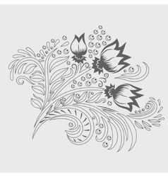 Khokhloma decorated hand-drawn ornament line art vector