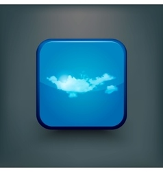 Modern realistic icon with sun and clouds vector