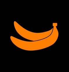 Banana simple sign orange icon on black vector