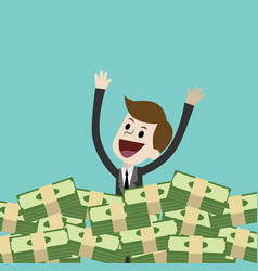 businessman or manager has a lot of money and vector image vector image