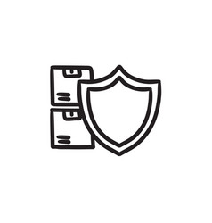 Cargo insurance sketch icon vector