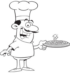 Cartoon chef holding a pizza vector image vector image