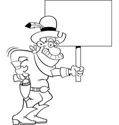 cartoon cowboy holding a sign vector image