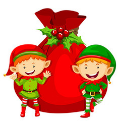 Christmas theme with two elves and red bag vector image vector image
