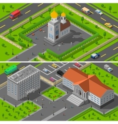 Church state edifice isometric 2 banners vector