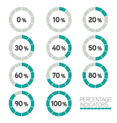 Circular progress bar - ten percentage indicators vector