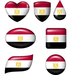 Egypt flag in various shape glossy button vector