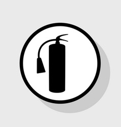 Fire extinguisher sign flat black icon in vector