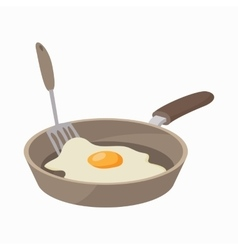Frying pan with egg icon cartoon style vector image vector image