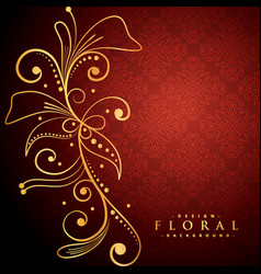 Golden floral on red background vector