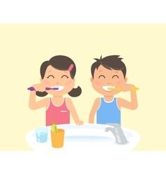 Happy kids brushing teeth standing in the bathroom vector