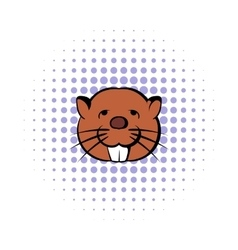 Head of beaver icon comics style vector