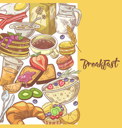 healthy breakfast hand drawn design with milk vector image vector image