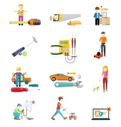 Icons set of tools series vector