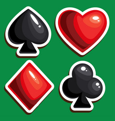 isolated four card suits for poker game in casino vector image