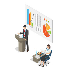 Lecture on business coaching in cartoon style vector