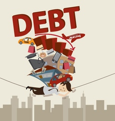Living with debt vector image