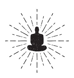 Meditation human silhouette isolated on white vector