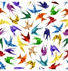 Origami paper swallows seamless pattern vector image vector image