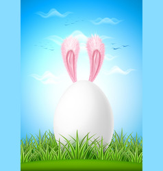 realistic hare ears easter egg green grass vector image