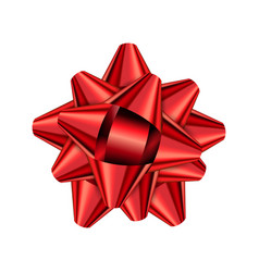 red holiday bow on white background vector image vector image