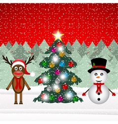 Reindeer and snowman in a forest vector