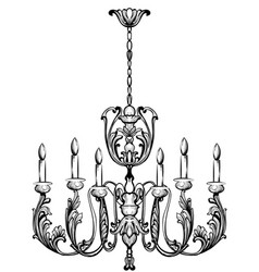 rich baroque classic chandelier luxury decor vector image