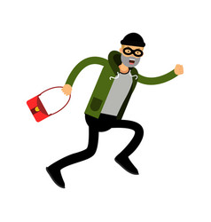 Robber character running with red female bag vector