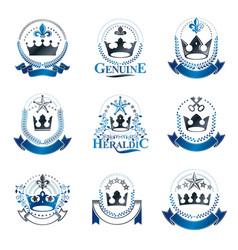 royal crowns emblems set heraldic coat of arms vector image vector image