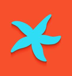 Sea star sign whitish icon on brick wall vector