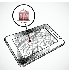 Sketch draw tablet pc with navigation map vector image vector image