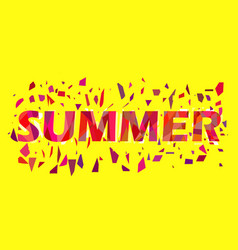 Summer text with flying triangles interference vector