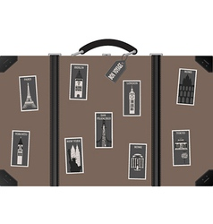 Travel sutecase with stamps vector