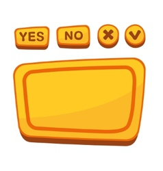 Ui buttons set for agreement panel in cartoon vector