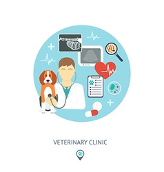 Veterinary flat set Veterinary banner background vector image