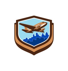 Vintage airplane take off cityscape shield retro vector