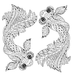 Zentangle stylized floral china fish doodle vector image