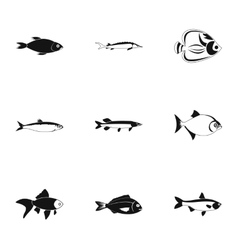 Species of fish icons set simple style vector