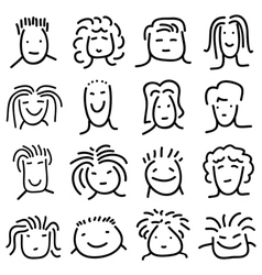 Various doodle people faces set vector