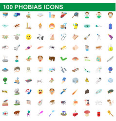 100 phobias icons set cartoon style vector image